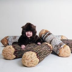 Knitted tree logs chewed off by beavers? Long Cotton Wood Tree Log Bolster Pillow by chicsindesigndotcom Woodland Baby Nursery, Woodland Theme, Woodland Room, Bear Nursery, Woodsy Nursery, Camping Nursery, Robot Nursery, Forest Theme, Tree Logs