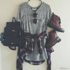 Cute Grunge Outfit with Flannels, Sunglasses and Doc Martens Boots…
