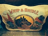 """WHIP & BRIDLE METAL ADVERTISING SIGN, 26"""" X 22"""""""