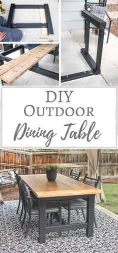 Diy Outdoor Furniture, Diy Furniture Projects, Furniture Plans, Home Projects, Outdoor Decor, Outdoor Table Plans, Diy Patio Tables, Outdoor Dining Tables, Outdoor Farmhouse Table