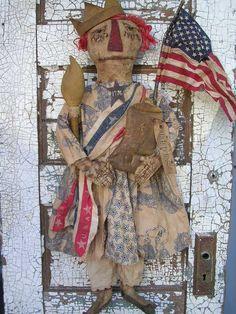 Primitive Folkart Patriotic Liberty Doll by stitchinsewprim, $14.95