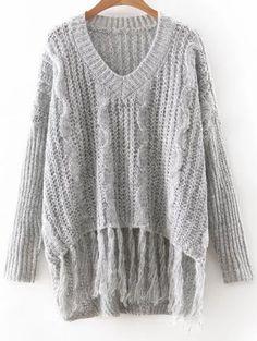 Long Sleeve V Neck Fringes Sweater