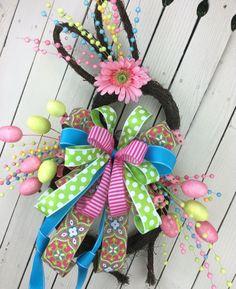 Easter Bunny WreathEaster door decorBunny door decor by Keleas