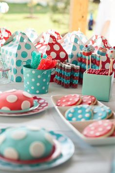 Aqua and Red Polka Dot Party via Kara's Party Ideas