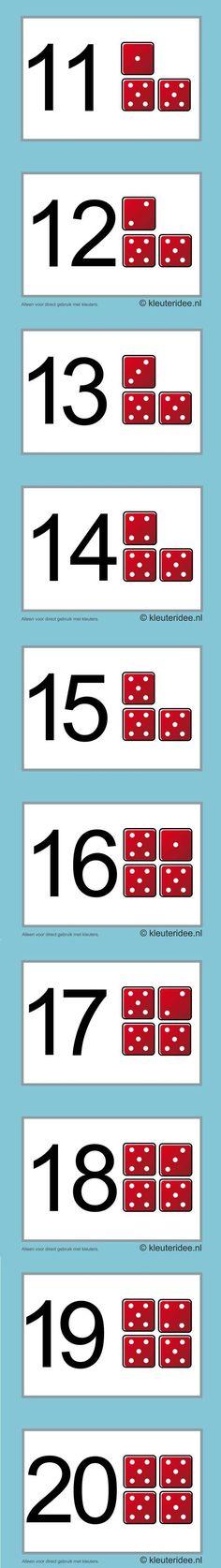 Cijferkaarten voor kleuters 19-20, kleuteridee.nl , number cards for preschool , free printable.