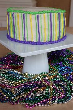 "Crave. Indulge. Satisfy.: Mardi Gras ""King Cake Inspired"" Layer Cake"