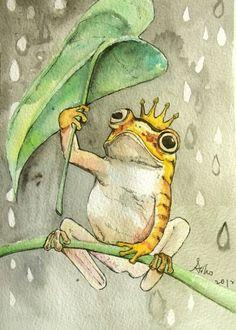 Original Frog Watercolor Painting 5 x 7 von asho auf Etsy Arches Watercolor Paper, Watercolor Paintings, Painting Art, Online Photo Collage Maker, Pinterest Arte, Animal Drawings, Art Drawings, Frog Illustration, Frog Drawing