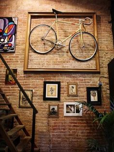 Bright Up Your Wall With Wall Art : Amazing Design Wall Decoration With Old Brick Wall And Picture Frames With Unusual Bicycle Art