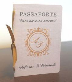 convite de casamento exclusivo passaporte frete grátis