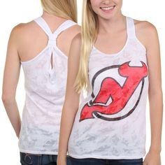 New Jersey Devils Women's Sublime Burnout Racerback Tank Top – White - $22.99