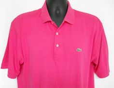 Mens Lacoste Hot Pink Golf Polo  Shirt 3 Button Front Alligator Logo Rugby #Lacoste #PoloRugby