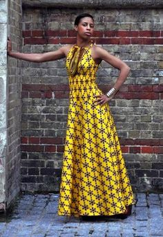 African print yellow Maxi dress from House of Afrika African Inspired Fashion, African Print Fashion, Africa Fashion, Fashion Prints, African Attire, African Wear, African Women, African Style, African Print Dresses