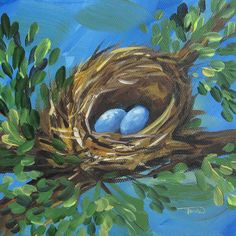 "The Spring Nest 6"" x 6"" Original Painting on Gallery Wrapped Canvas by Torrie Smiley"