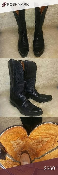 Black Cowgirl Boots by Lucchese Size 7 Prety black Lucchese cowgirl boots. Size: 7 ( Im wering sz 8.5 and this boot fit me ok with ultra thin shocks). Made of genuine leather, made by well known boots maker Lucchese that well known for quality. Well made and if you take care them properly will last you for ages. Lucchese Shoes Ankle Boots & Booties