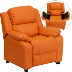 Deluxe Heavily Padded Contemporary Orange Vinyl Kids Recliner with Storage Arms BT-7985-KID-ORANGE-GG by Flash Furniture