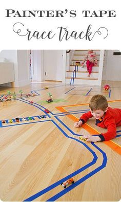 Use painter's tape to make a race track for little cars! A fun indoor activity when it's too cold, rainy or snowy to go outside. ♥ Little Girl's Pearls