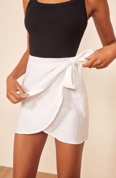 This is a slim fitting, mini length wrap skirt with a waist tie. The Sax pairs well with the Milly Tank. Summer Skirts, Summer Outfits, Casual Outfits, Cute Outfits, Fashion Outfits, Fashion Tips, Cute Skirts, Cute Dresses, Mini Skirts