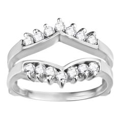 Sterling Silver 2/5ct TDW Round Diamond Chevron Style Ring Guard (G-H, I2-I3) (Two-Tone Sterling Silver, Size 10.50), Women's, Size: 10.5