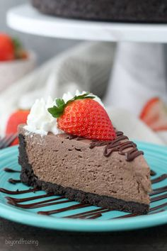 This is the Easy No-Bake Chocolate Cheesecake made without Cool Whip and no gelatin, this homemade chocolate no-bake cheesecake is so easy, just a few simple ingredients. This cheesecake isn't too sweet and pairs perfectly with any fruit topping.