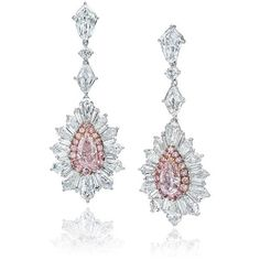 These extraordinary earrings feature two dazzling fancy pink diamond center stones that will immediately catch your eye. The stones are a combined 4 carats, and are surrounded by carats of fanc… Pink Jewelry, Gems Jewelry, Crystal Jewelry, Bridal Jewelry, Crystal Earrings, Pink Diamond Earrings, Fancy Earrings, Diamond Jewellery, Morris
