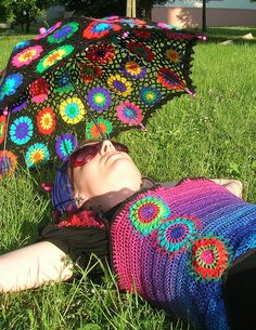 Granny Square Parasol And Embellished Rainbow Crochet Top by babukatorium, via Flickr