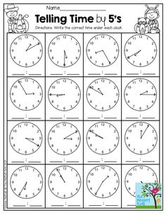 Telling Time by the 5 minutes and TONS of other great printables!