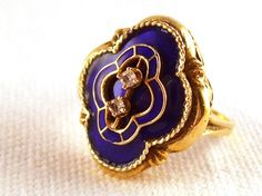 Vintage Ring Art Nouveau 14k Gold Ring with Cobalt Blue Enamel and Diamonds