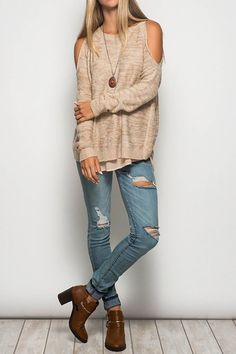 Long Sleeve Taupe Cold Shoulder Sweater Chiffon Back 65% Cotton and 35% Acrylic Runs True with a loose fit, super cute! S 0-4 M 6-8 L 10-12