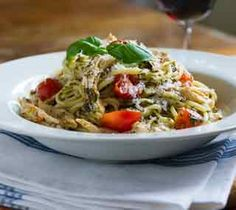 Chicken Pesto Linguini  Use the meat from leftover roast chicken to make this easy and flavourful pasta dish.