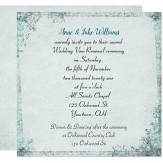 wedding vow renewal old-fashioned floral border card - wedding invitations cards custom invitation card design marriage party