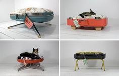 Pet Beds from suitcase halves or desktop computer monitor cases with chair bases. Also sculpture from music cassette tapes. Fun site.