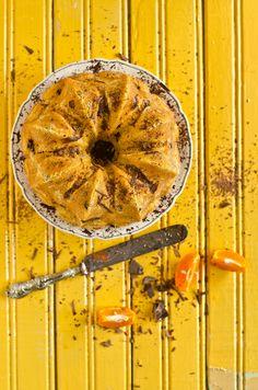 Bolo de tangerina e chocolate