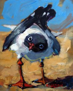 Inquiring Gull, painting by artist Rick Nilson