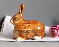 French Vintage Michel Cougant Rabbit Pate Terrine.  Brown Rabbit Pate Dish. Vintage Pate Dish. Rabbit Pate Bowl. EASTER GIFT. French Vintage by JadisInTimesPast on Etsy