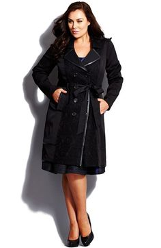 City Chic 'Lace Vixen' Belted Double Breasted Trench Coat (Plus Size) available at #Nordstrom
