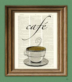 Café Coffee with coffee cup beautifully upcycled by collageOrama, $6.99