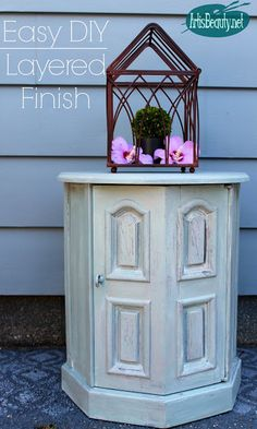 ART IS BEAUTY: Small End Table Makeover using LAYERS ~ DIY Furniture Girls!