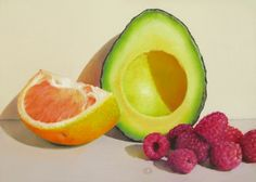 Still Life with Avocado, Pink Grapefruit and Raspberries, painting by artist Oriana Kacicek