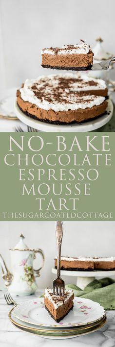 No Bake Chocolate Espresso Mousse Tart. NO BAKE! Smooth creamy chocolate espresso mousse with a crunchy (but sturdy) cookie crust. Vanilla Cookies, Vanilla Cake, Mousse, Cottage Meals, Chocolate Espresso, Espresso Coffee, Making Whipped Cream, Cookie Crust, Chocolate Shavings