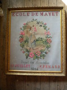An Early 20th Century FRENCH Sampler Stiched By E Pendard & Dated 10 July 1914 ~ eBay