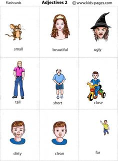 Kids Pages - Adjectives 2: http://www.kids-pages.com/folders/flashcards/Adjectives_2/page1.htm #English flashcards