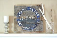 Rustic Grand Teton National Park Symbol Sign on by salvagesigns
