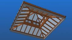 Square Sapele 3D CAD Model - Roof Lantern