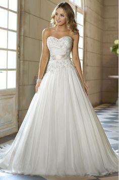 Preço barato frete grátis 2016 chegada nova A linha querida Applique cinto Vestidos De Noiva branco marfim Vestidos De casamento OW 0112