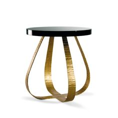 Porta Romana - CST25, Fig Side Table - French Brass with Black Lacquer Top