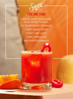 Get into the groove with Fire and Funk, a red hot cocktail with flare. Fiery Sriracha provides the heat while Sauza® Signature Blue keeps it cool, making this drink the ultimate boogie partner. For more funky tequila recipes, visit our website us.sauzatequila.com.