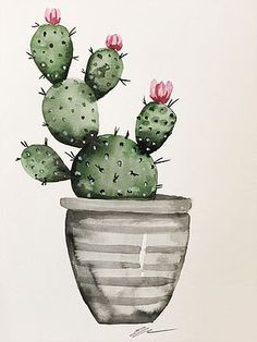 Cactus in the original watercolor painting of the gray pot - Site Today # aqu . - Cactus in the original gray pot watercolor painting – Site Today # aquarellmalerei the - Cactus Drawing, Cactus Painting, Watercolor Cactus, Cactus Art, Easy Watercolor, Watercolor Paintings, Paper Cactus, Cactus Decor, Painting Canvas