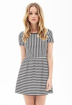 A-Line Striped Dress | FOREVER21 - 2000073170