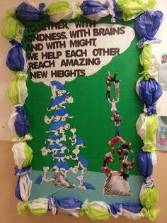 """Yertle the Turtle Bulletin Board for Dr. Seuss Theme. Take pictures of children pretending to hold something up. Print, cut out and stack. Border is tissue paper bubbled out to look like turtle shells. Cute! """"Together with kindness, with brains and with might, we help each other reach amazing new heights."""""""
