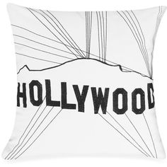 Passport 18-Inch Square Postcard Toss Pillow in Hollywood (250 CNY) found on Polyvore
